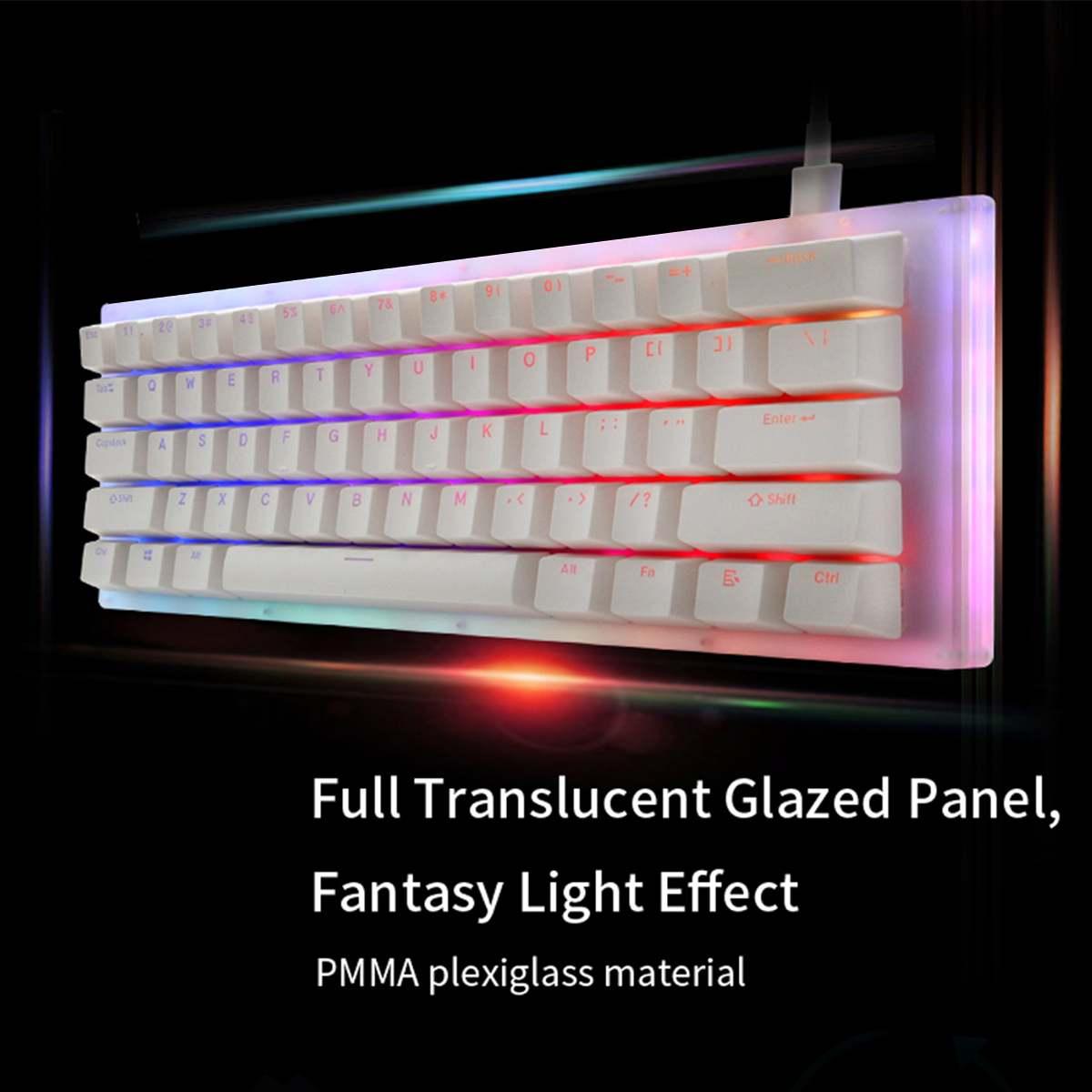 Gamakay K61 61 Keys Mechanical Gaming Keyboard Tyce-C Wired RGB Backlit keyboard Gateron Switch Crystalline Base Hot Swappable