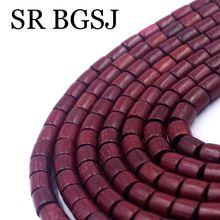 Livraison gratuite 108 pièces 8mm Tube colonne forme Violet palissandre bois Mala méditation en vrac bricolage résultats perles