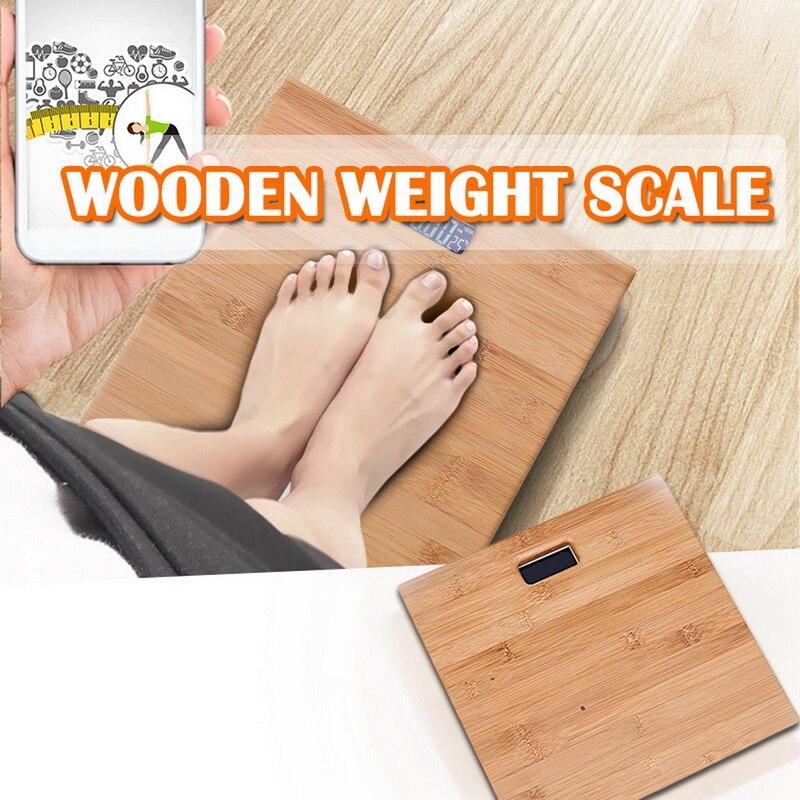 Escala de peso do corpo humano inteligente eletrônico de madeira anti-skid display backlight peso doméstico balança de peso equilíbrio cuidados de saúde