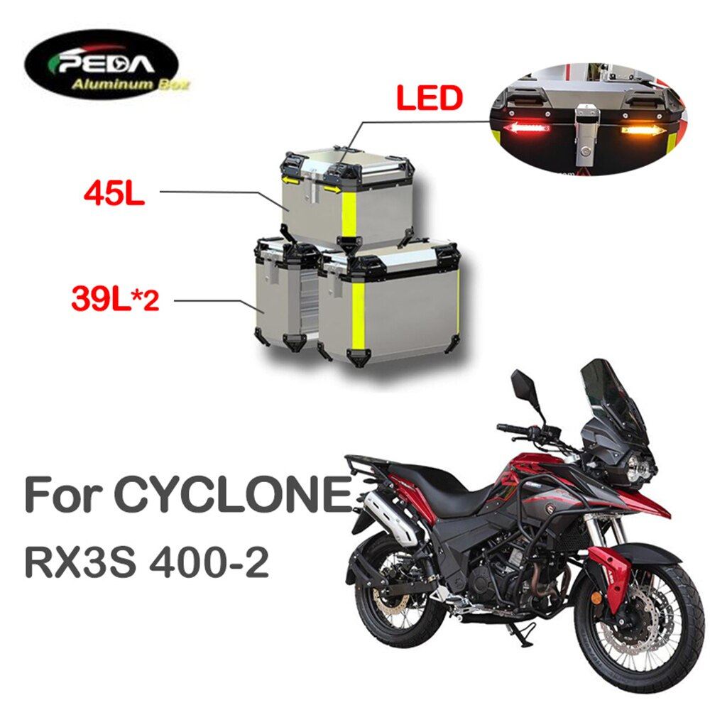 V5-18 دراجة نارية الألومنيوم صندوق مع LED Winker 45L المزدوج 39L Panniers الحقيبة الجانبية الجانبية ل إعصار RX3S 400-2 الجذع الخلفي