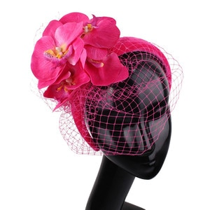Elegant Bridal Mesh Wedding Headwear With Flower Beautiful Fascinator Hair Accessories Ladies Women Fashion Net Hair Band