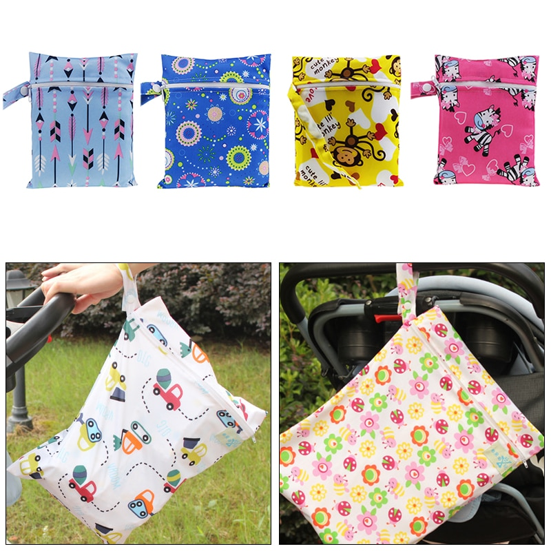 New Waterproof Reusable Wet Bag Printed Pocket Washable Nappy Bags PUL Travel Wet Dry Bags Mini Size 15cmx20cm Diaper Bag
