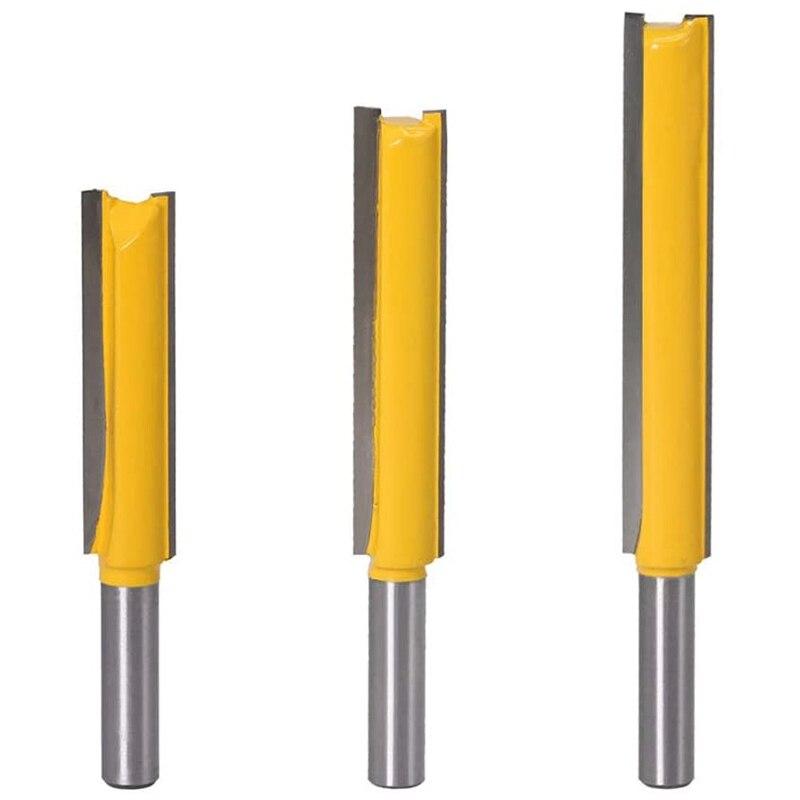 HOT-3Pcs 8Mm mango recto de conjunto de Fresa herramientas de carpintería de madera Extra larga broca para ranuradora recta