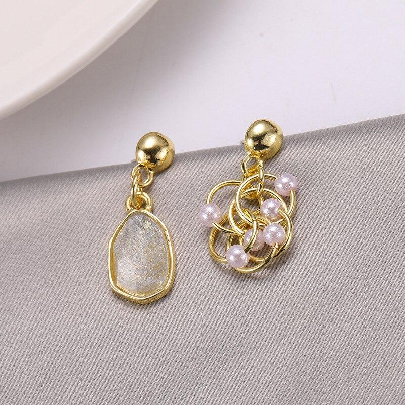 Korean Asymmetric Retro Crystal Pearl Niche Premium Sense Temperament Net Red Circle Personality Design Earrings Sale Bohemian