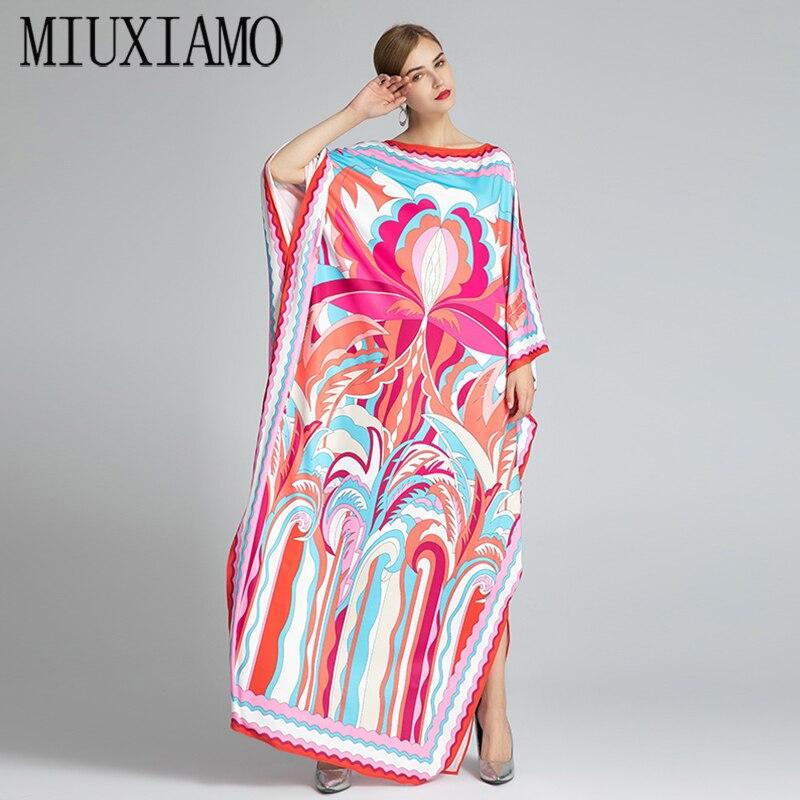 MIUXIMAO-فستان طويل بوهيمي ، مقاس كبير ، ياقة دائرية ، أكمام الخفاش ، حرير مرن ، طول الأرض ، قفطان ، موضة جديدة ، 2021