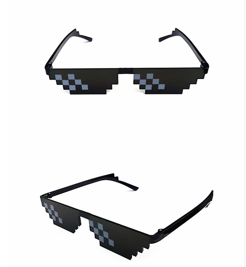 Новые мозаичные полосатые солнцезащитные очки, игрушки для трюков, очки с ручкой, очки, пиксельные женские черные солнцезащитные очки с моз...