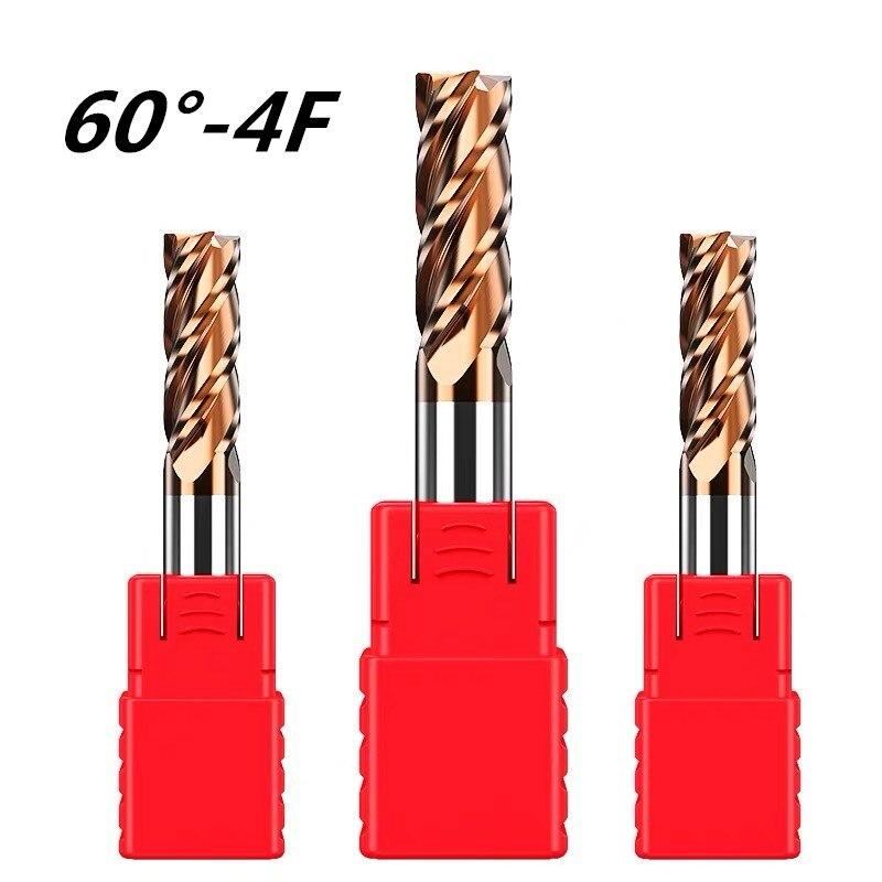 Ende mühlen HRC60 1mm 2mm 3mm 4mm 5mm 6mm 8mm 10mm 12mm hohe qualität 4 Flöte PVD beschichtet hartmetall hartmetall-schaftfräser