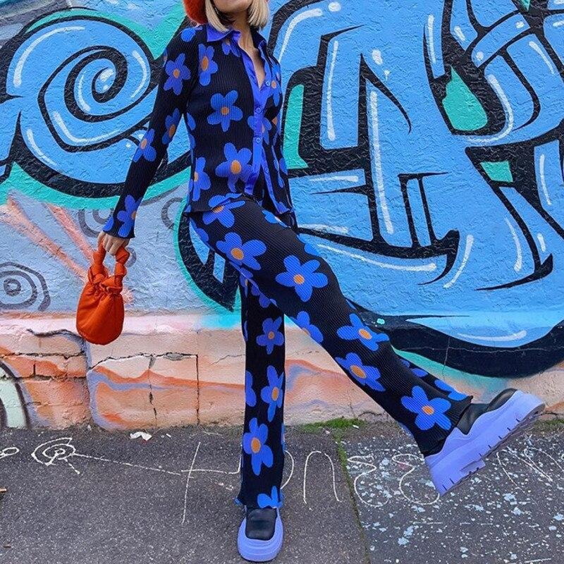 Floral Print Pant Set Long Sleeve Button Turn Down Collar Shirt Elastic Waist Slim Pant 2021 Autumn Winter Casual Women Pant Set