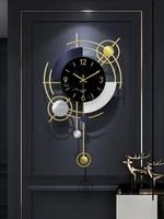 creative metal wall clock black large pendulum silent wall clock geometry unique orologio da parete living room decor ei50wc