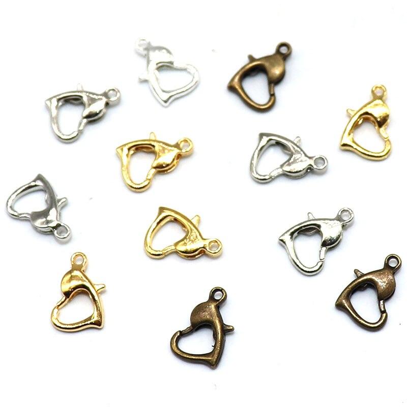 10x7MM 25 unids/lote accesorios de conexión chapados en plata antiguos para hacer joyería DIY collar corazón langosta cierre ganchos