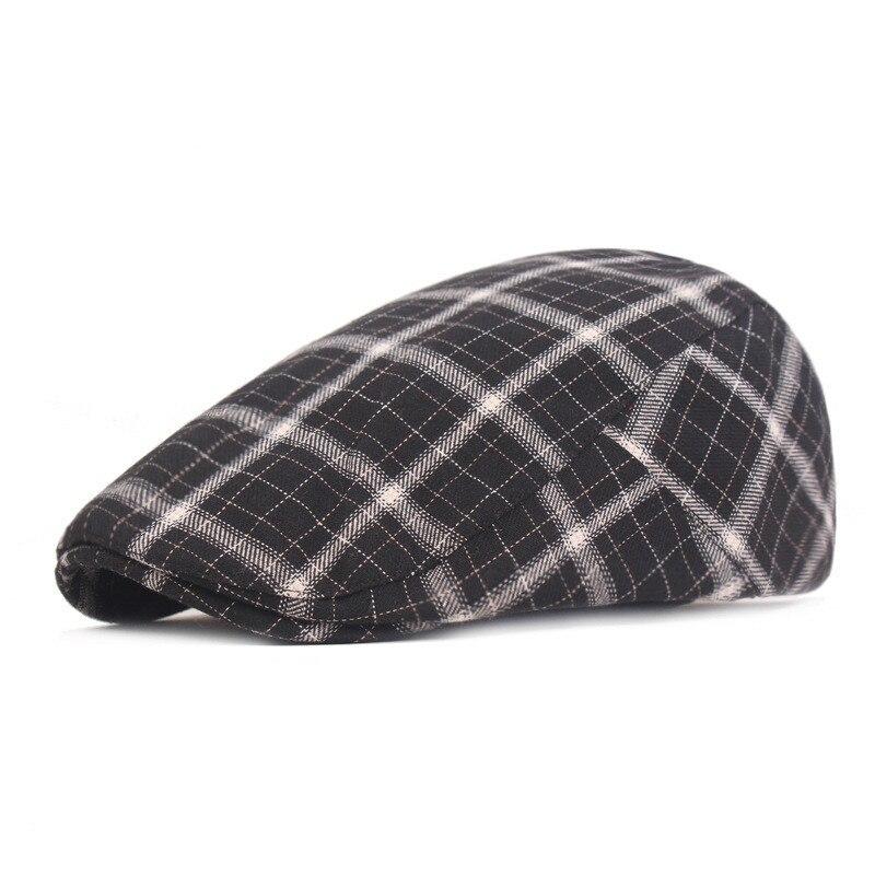 Шапка мужская Молодежная простая Передняя шапка в клетку для людей среднего и пожилого возраста Повседневная дикая Солнцезащитная шапка