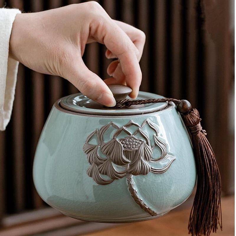 Cerámica China grande té Caddy té verde olla de almacenamiento sellada azul y blanco porcelana decoración clásica tarro de almacenamiento