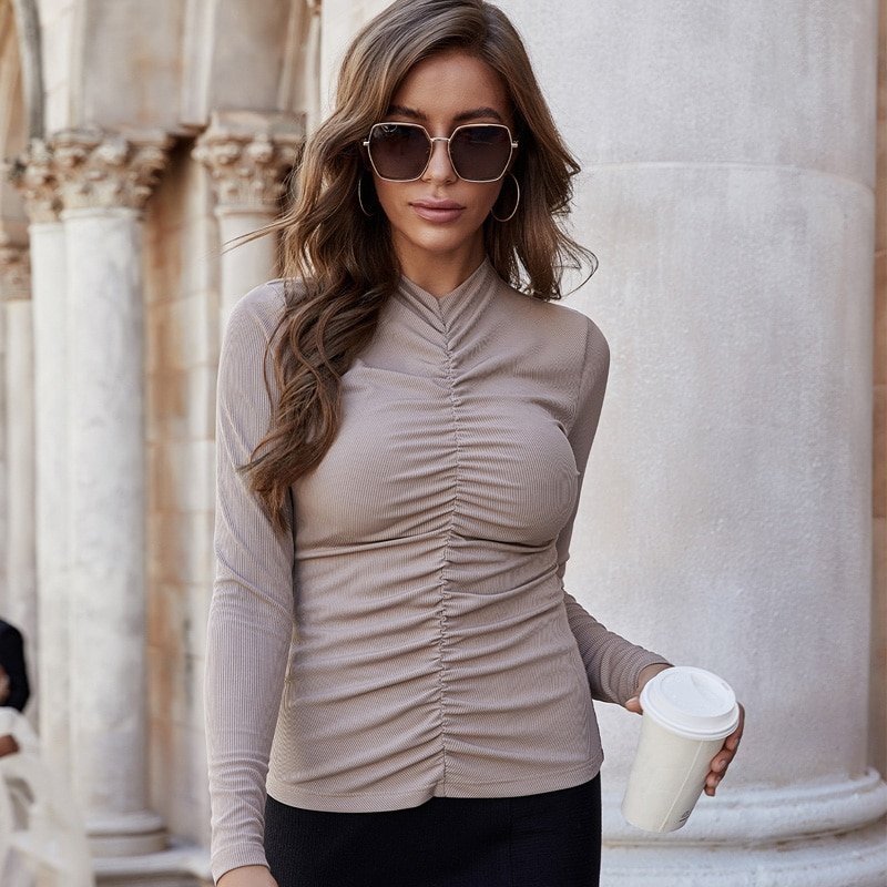 Camiseta de cuello alto para Mujer, blusa Sexy ajustada de manga larga,...