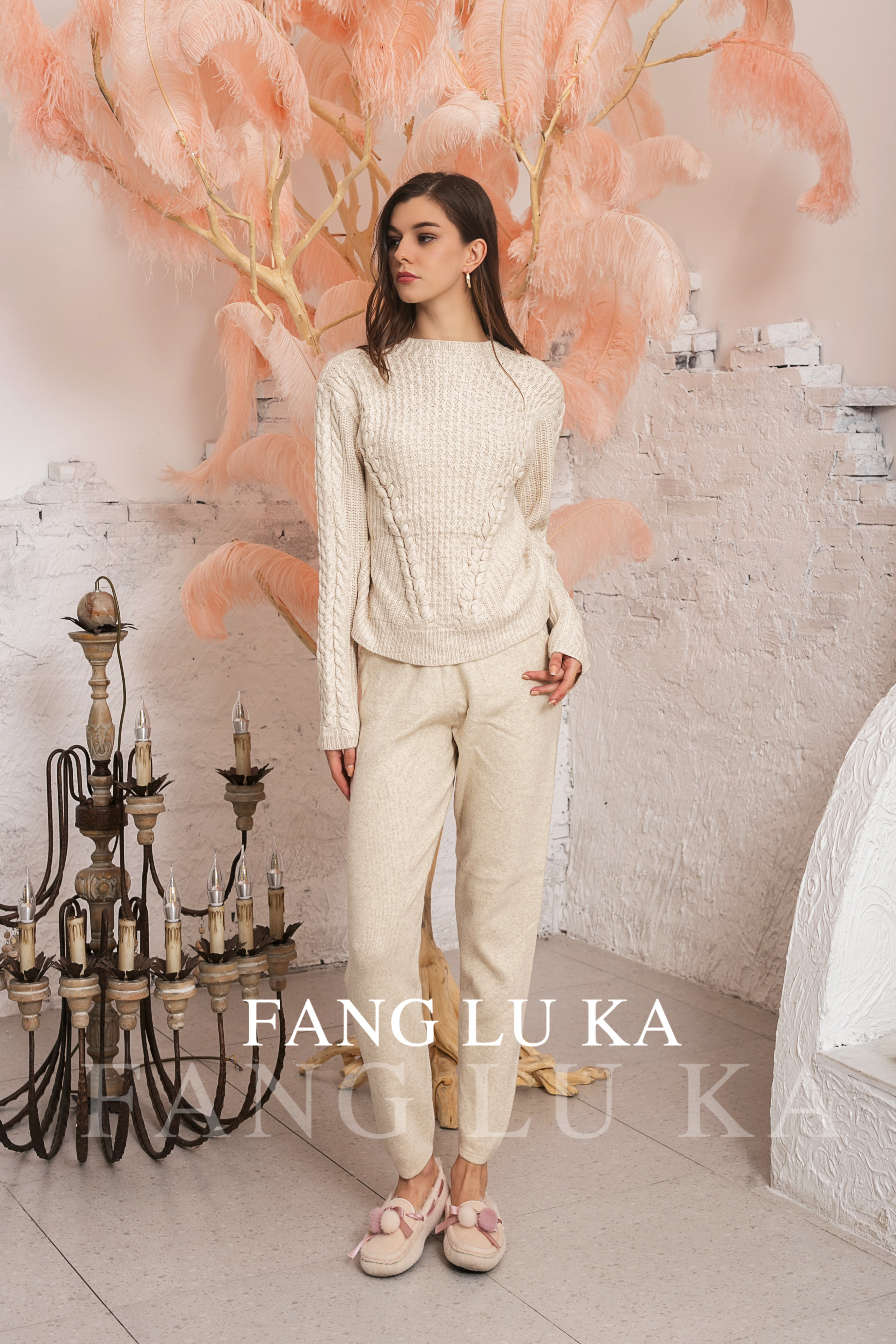 Fashion Women's Cashmere Wool Knitted Warm Two piece O-Neck Collar Sweater + Cashmere Pants Two-piece Set Knit enlarge