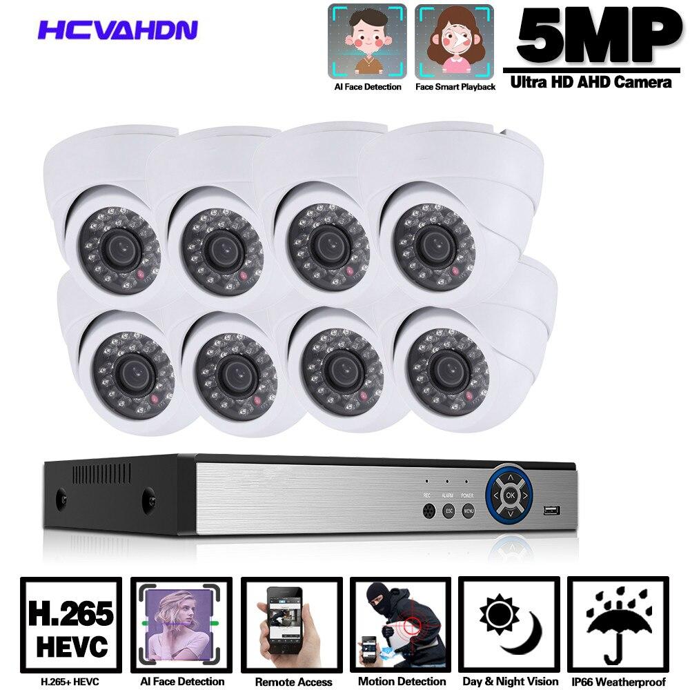 Casa CÁMARA DE CCTV Kit de sistema de seguridad 4ch DVR CCTV al aire libre cámara de videovigilancia AHD Casa de vigilancia cámaras 5mp