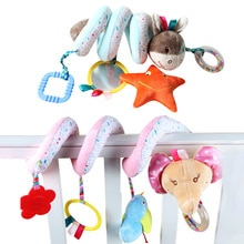 Baby Stroller Toys Cute Animals Rattle Bed Crib Car Hanging Stroller Spiral Plush Appease Toys Teeth