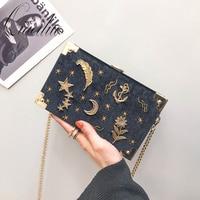 Qiaoduo Velvet small square bag women bag 2020 new South Korea ins embroidery star shoulder slung box elegent chain bag CE3389