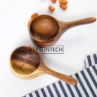 50pcs natural acacia wood coffee scoop short handle measuring spoons coffee bean milk powder wooden scoop