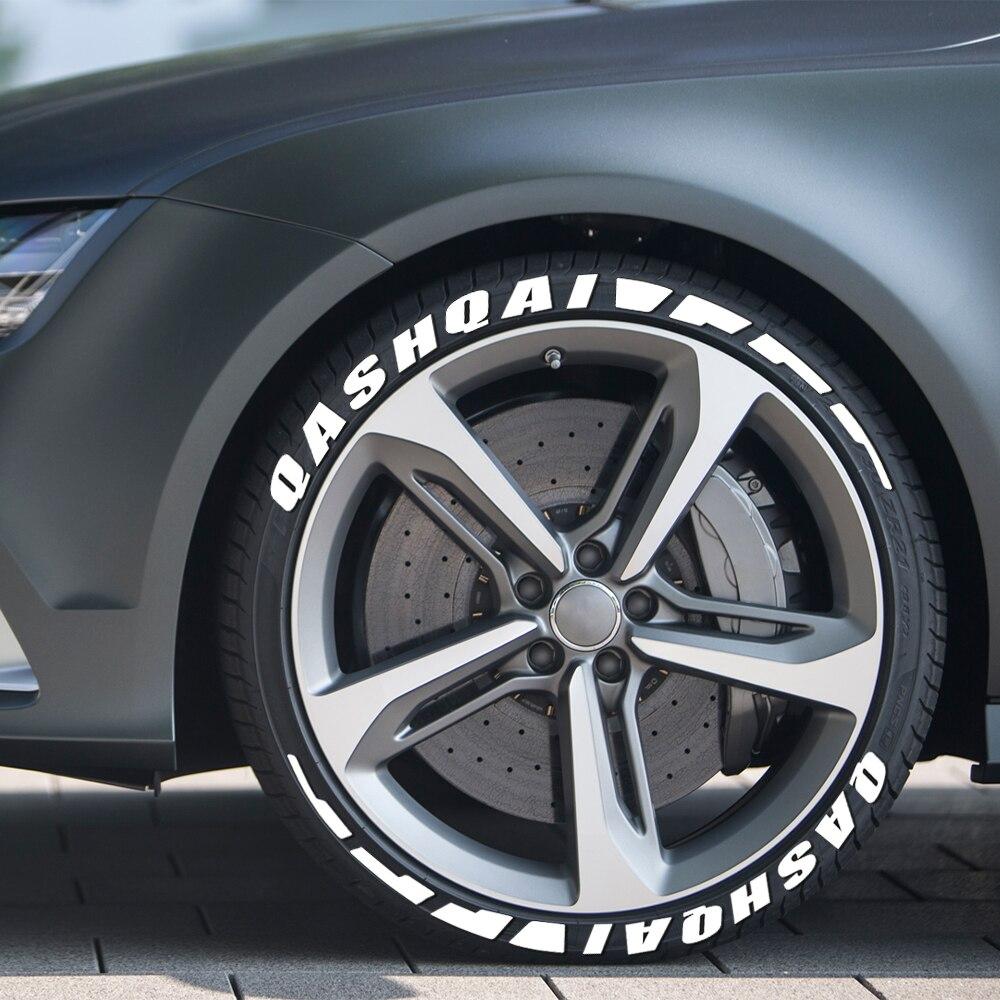 3d permanente de borracha carro pneu letras diy adesivos para nissan qashqai j10 j11 auto pneu etiqueta da roda decalques acessórios