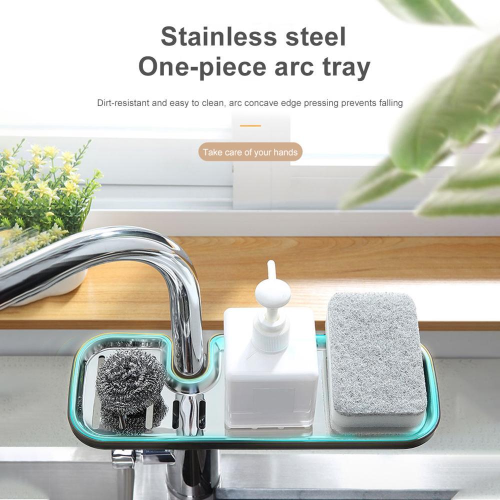 Stainless Steel Faucet Rack Kitchen Supplies Sink Storage Rack Sink Rag Drain Basket Drainer Rack for Kitchen Sink Home Storage