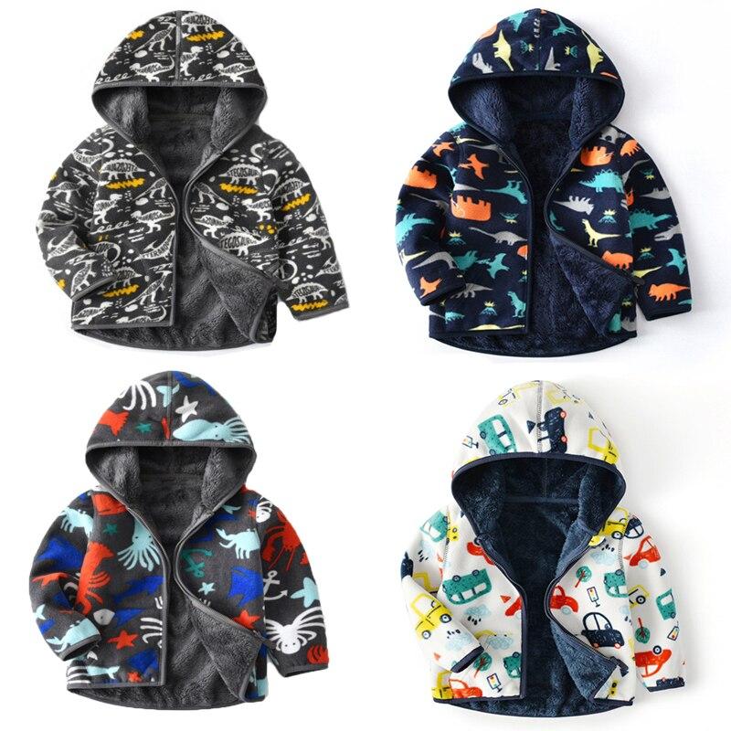 Springen Meter Neue Ankunft Kinder Fleece Tiere Hoodies Mäntel für Herbst Winter Jungen Mädchen Outwear Jacken Zipper Mäntel