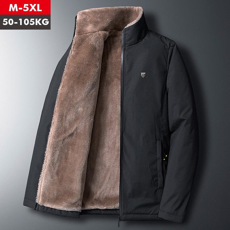Fleece Jacket Men 's Warm Thick Windbreaker High Quality Fur Collar Coat Plus Size M-5XL Brand Fashion Winter Fleece Parkas