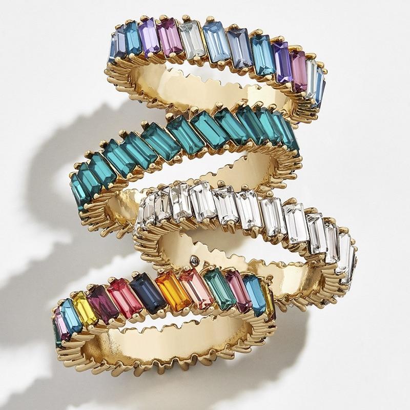 Nuevos anillos de moda finos de Baguette con Zirconia cúbica de arco iris para mujer, anillos de compromiso de lujo, anillos para boda en 24 colores