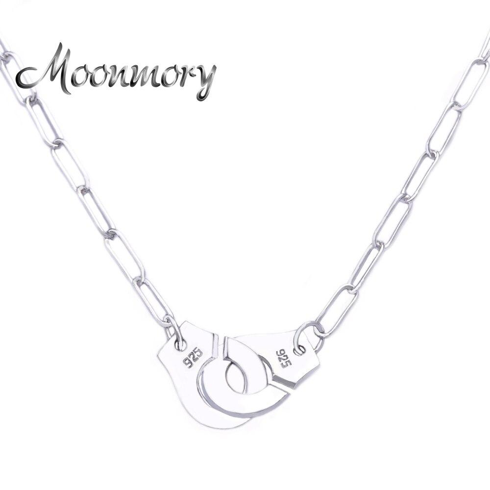 Moonmory-عقد من الفضة الإسترليني عيار 925 مع أصفاد ، مجوهرات الزفاف ، للرجال والنساء ، على الطراز الأوروبي