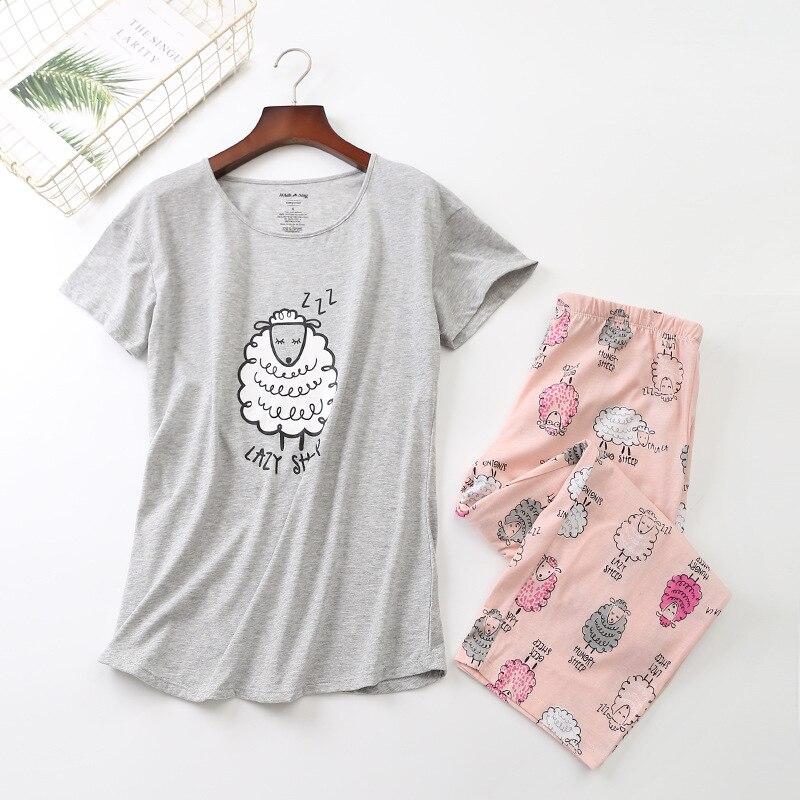 Ensemble de pyjamas en coton T-shirt à manches courtes pantalon Long 2 pièce/ensemble Sexy Pyjama dété grande taille maman maison vêtements de nuit