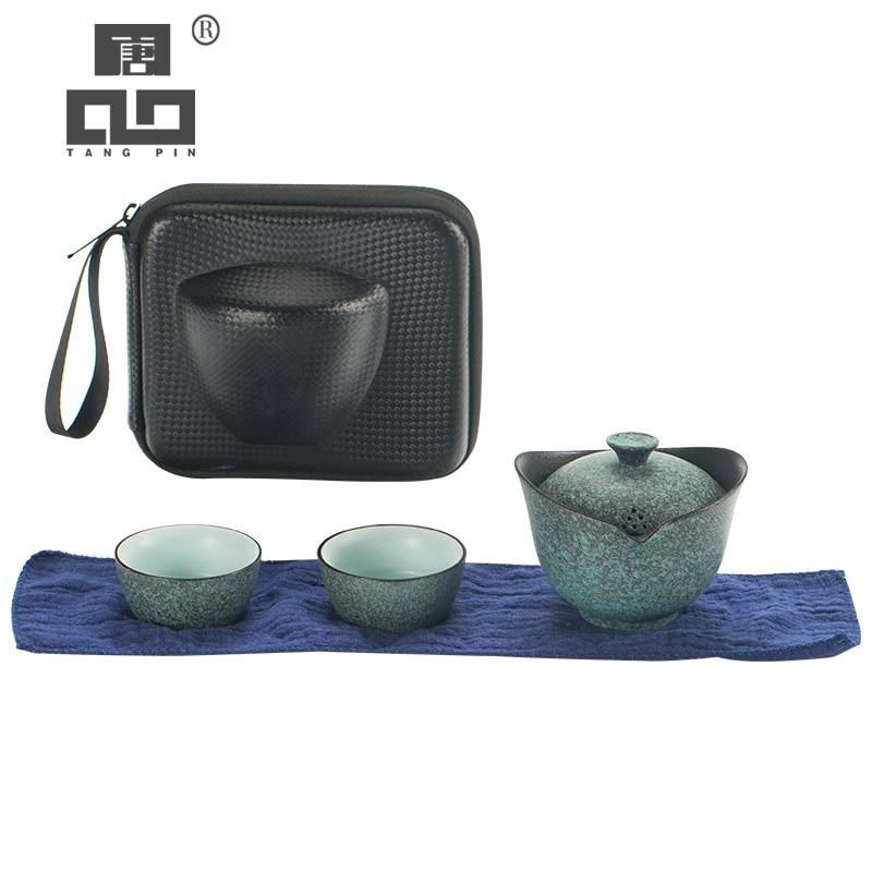 TANGPIN الصينية إبريق شاي من السيراميك gaiwan فنجان شاي a أطقم شاي المحمولة السفر أطقم شاي مع السفر حقيبة