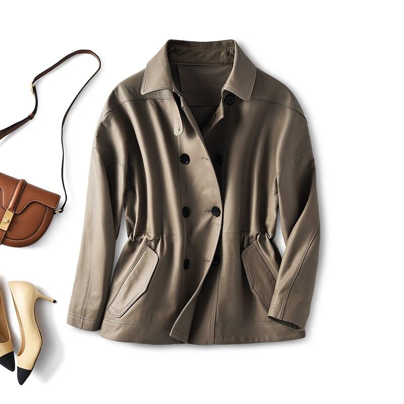 SHUCHAN  Genuine Leather Jacket  Sheepskin  Spring/Autumn  England Style  Double Breasted Leather Sheepskin Leather Jacket