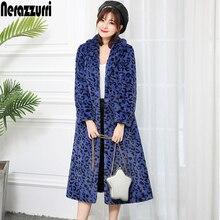 Nerazzurri elegant long faux fur coat women label leopard print fluffy furry coat skirted plus size winter outerwear 5xl 6xl 7xl