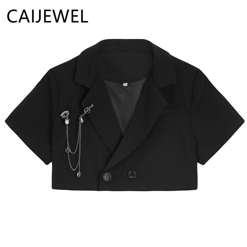 Women's Suit New 2021 Summer Sense of Design Casual Short Sleeves Korean Fashion Baggy Polo Collar T