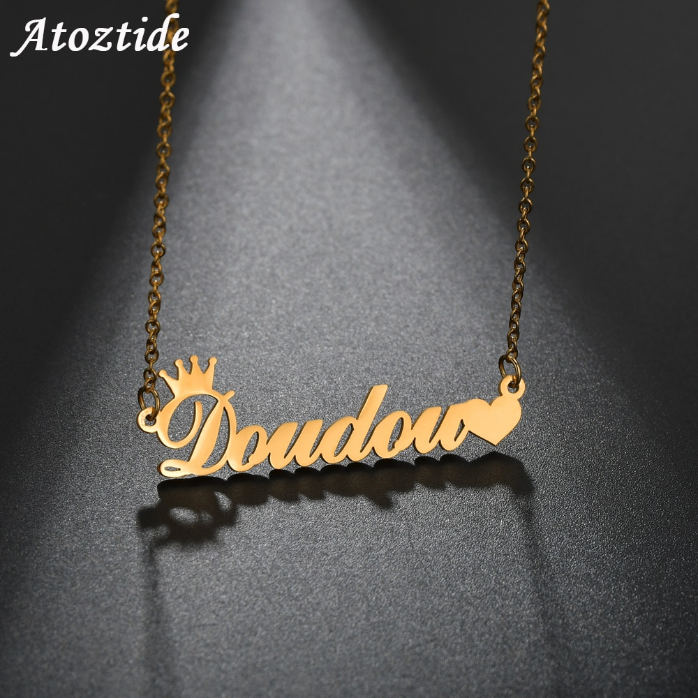 AliExpress - Atoztide Customized Fashion Stainless Steel Name Necklace Personalized Letter Gold Choker Necklace Pendant Nameplate Gift