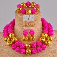 fuchisa pink nigerian jewelry set simulated pearl necklace costume african beads jewelry set for women fzz20