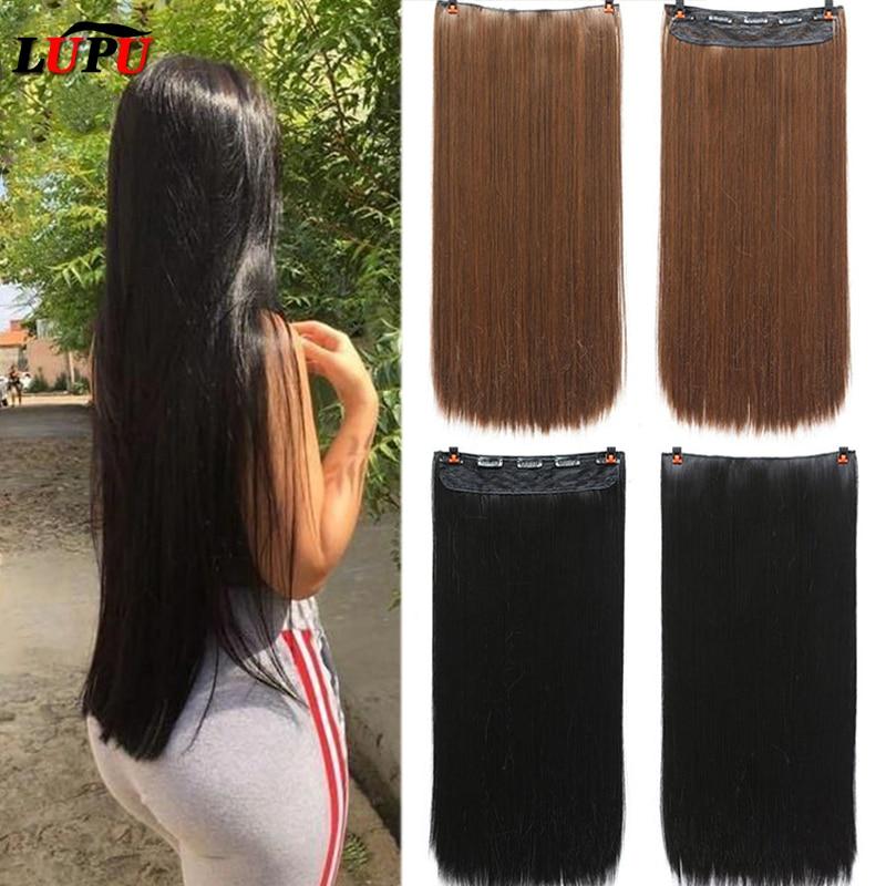 LUPU piezas falsas de cabello largo recto sintético 5 Clips en extensiones de cabello sintético de alta temperatura de fibra para las mujeres
