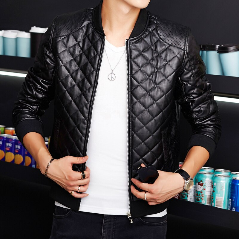 Abrigo-chaqueta de cuero sintético para hombre, chaqueta informal de otoño e invierno...