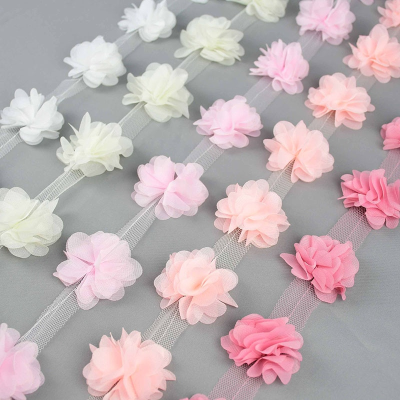 2Yards 24Pcs Flowers 3D Chiffon Cluster Flowers Lace Dress Decoration Lace Fabric Applique Trimming DIY Crafts Sewing Supplies