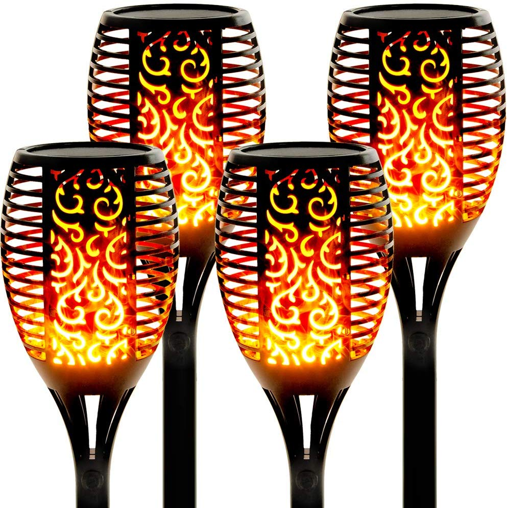 Llama Solar LED de 33/96 para exterior, linterna de seguridad IP65 impermeable con parpadeo para decoración de jardín y patio, lámpara de paisaje automática