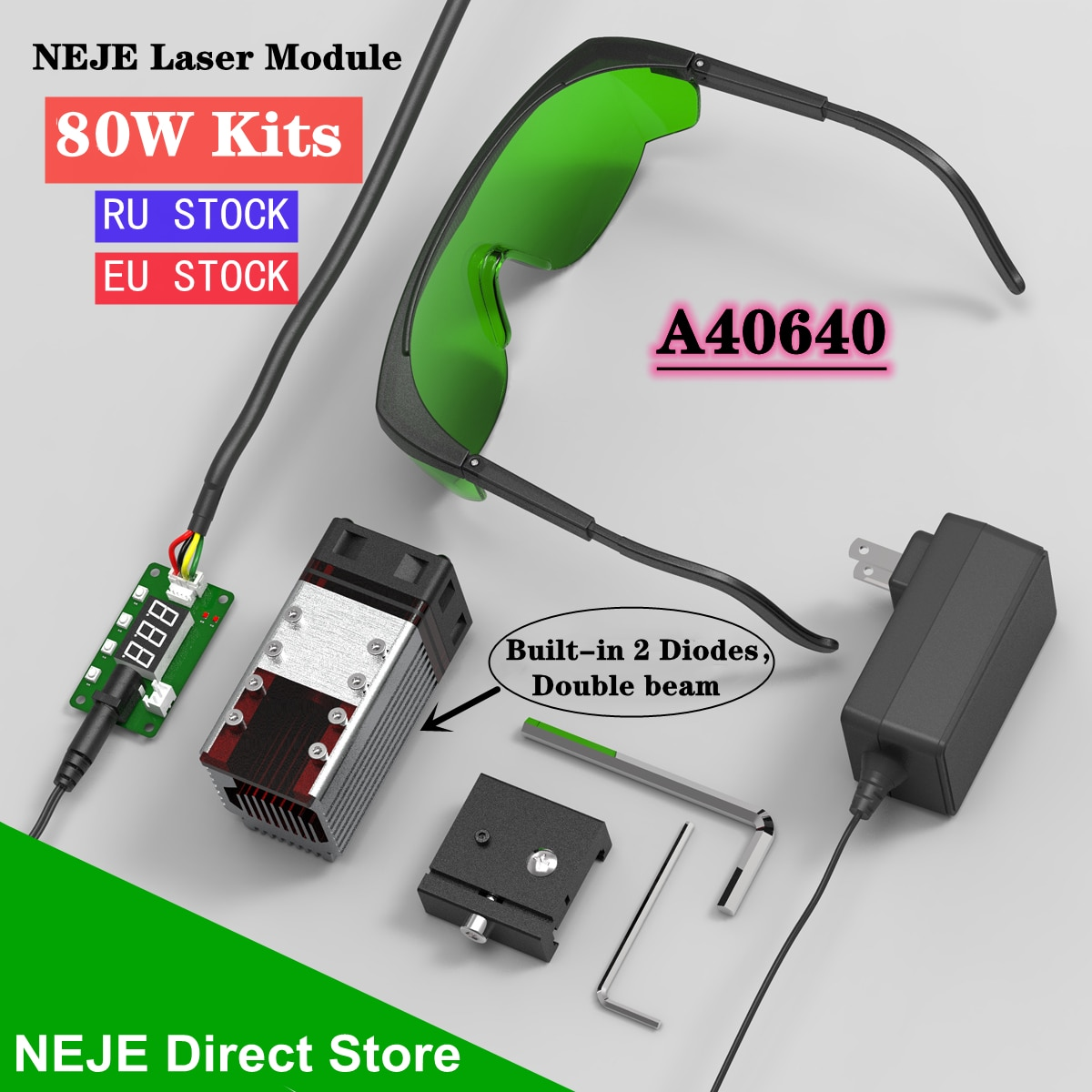 NEJE 80W A40640 Laser Module Kit With 450nm Wavelength TTL Module Set for CNC Laser Cutting Machine Engraver Wood Cutting Tool