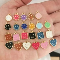 qmhje smiley face small charm pendant for earrings necklace bracelet smile heart round square enamel diy accessories jewelry