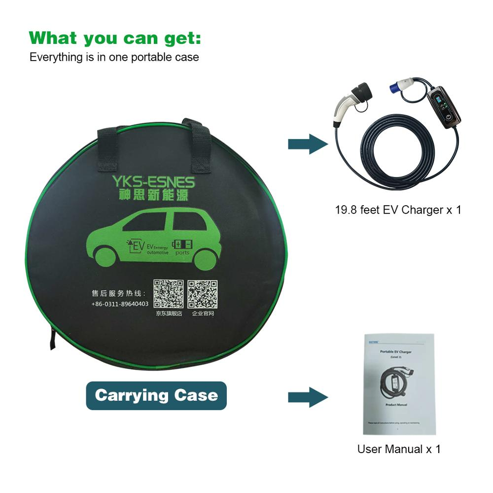 Type 2 EV Charger 16 Amp Portable Electric Vehicle Charger, CEE Plug 220V-240V, 3.3 kW 10 Meters Charging Cable, IEC 62196-2 enlarge