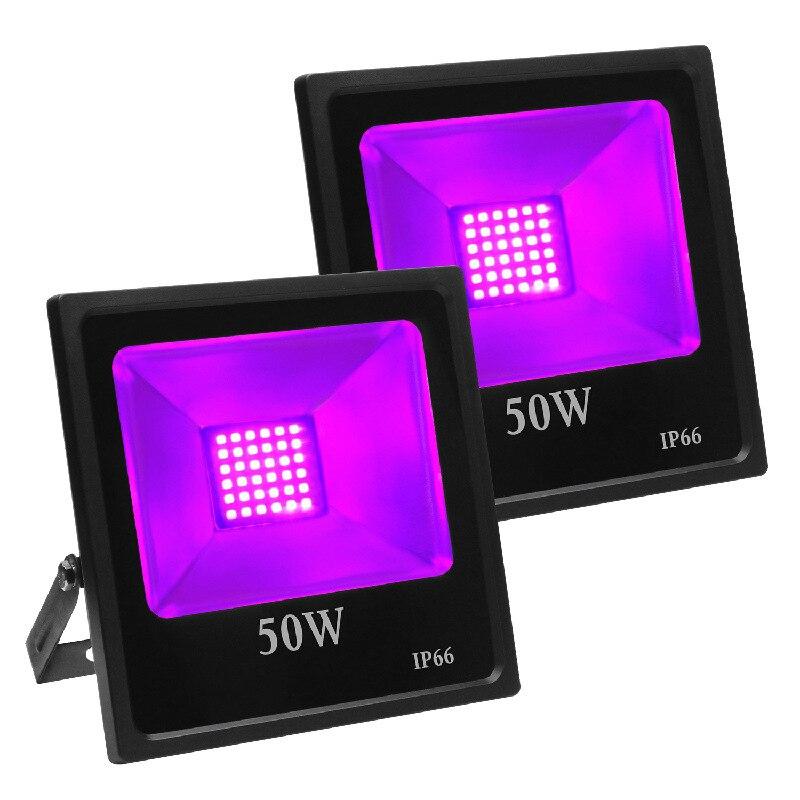 10 قطعة 30 واط 50 واط 80 واط 100 واط UV LED الكاشف الأرجواني Blacklight IP66 مقاوم للماء فائقة البنفسجي 39nm المرحلة ضوء لحزب هالوين