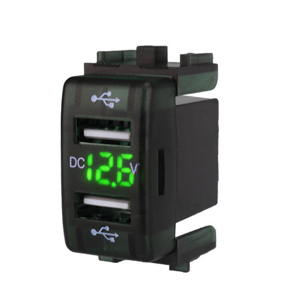 3 Colors Dual USB Car Charger Digital Display Vehicle Mobile Phone Charging Adapter For Nissan Sylphy 12V/24V Ports Power Socket