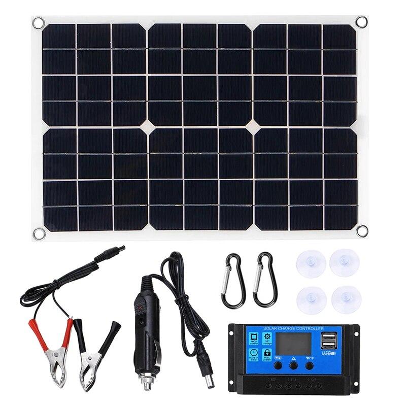 لوحة شمسية 100 وات 12 فولت ، طقم شاحن ، وحدة تحكم 50 أمبير ، للقافلة ، الشاحنة ، القارب ، USB مزدوج