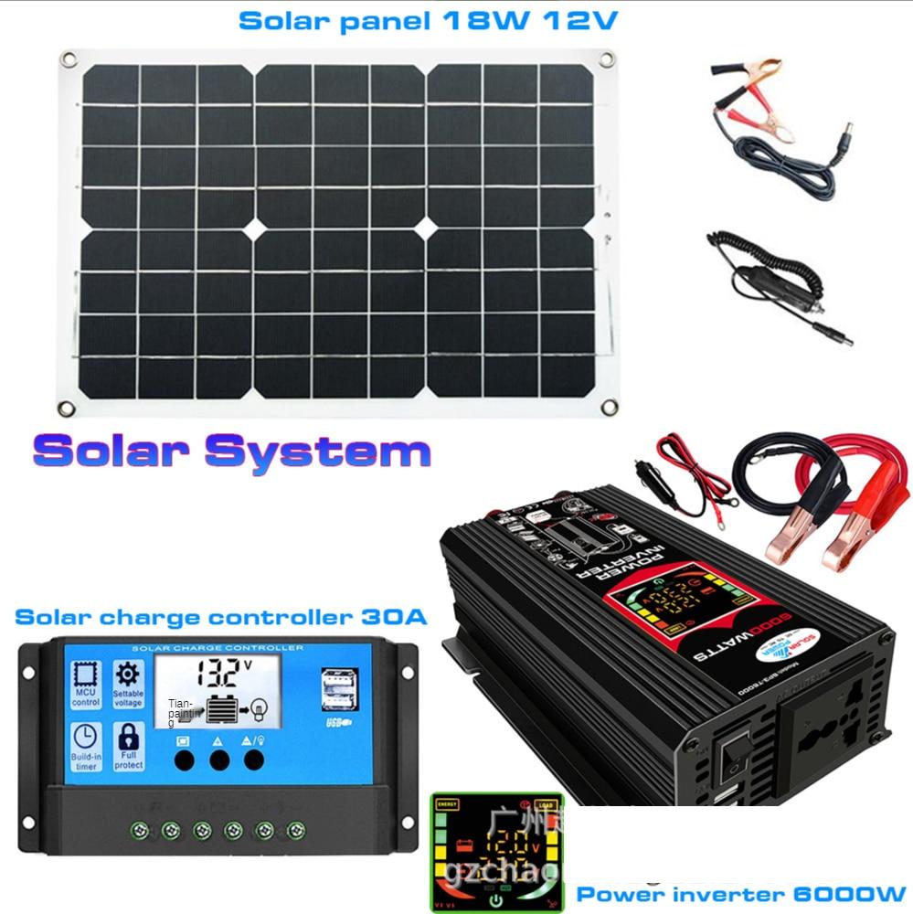 سلسلة الطاقة الشمسية مجتمعة العاكس تحكم لوحة طاقة شمسية 12 فولت إلى 220 فولت/110 فولت تهمة ذكي والتفريغ