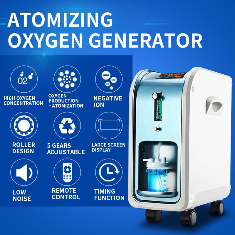 In Stock!1-5L Atomizing Oxygen Generator Negative Ion With Remote Control Home Double Oxygen Generator Suction Machine 220V