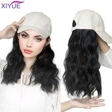 Gorra de béisbol sintética larga, Peluca de cabello negro Natural, extensiones de cabello, batidor de maíz Natural, pelucas onduladas, sombrero, peluca ajustable