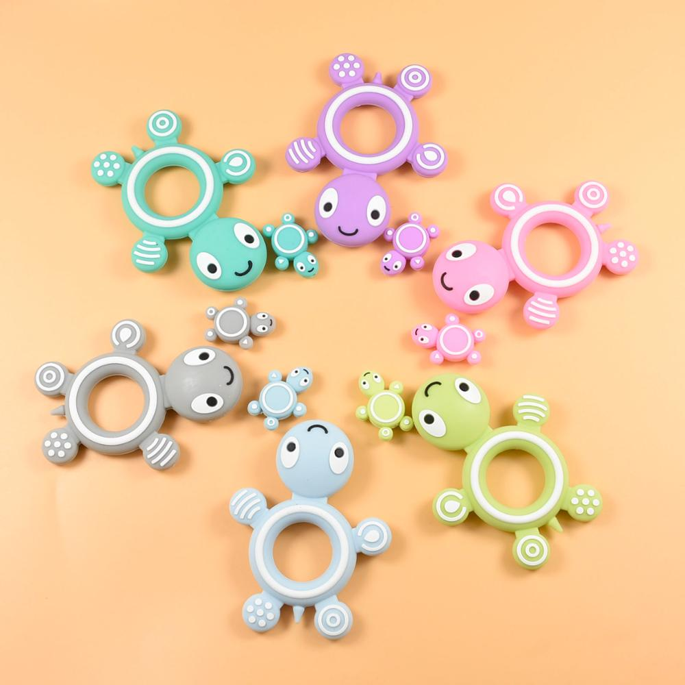 1 PC Hot Sell Turtle Silicone Baby Teether Cute Baby Teething Toys Chewable Animal Shape Tortoise Ba