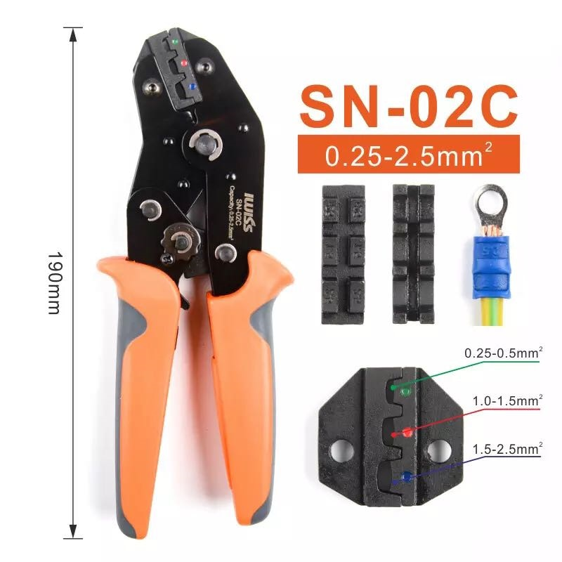 SN-02C 0,5-2.5mm ² 28-18AWG para pre-terminales aisladas prensado alicates tipo U Y-tipo bloque de terminal engarzadora plier
